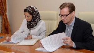 The Undersecretary Tourism for Sultanate of Oman, Ministry of Tourism, Oman H. E. Maithaa bint Saif Al-Mahrouqiyah and Bernhard Bohnenberger, president, Six Senses Hotels Resorts Spas sign Six Senses Spa Muscat management agreement in Muscat.
