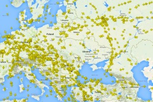 After the downing of MH17, almost no airlines flew over the war zone (above), but it was a different story before the tragedy. FlightRadar24