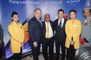James Hogan, President & CEO, Etihad Airways_ Naresh Goyal, Chairman of Jet Airways and Cramer Ball, CEO Designate, Jet Airways at a press conference  in Mumbai to unveil  MASTER BRAND PLAN