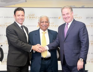 l to r-Cramer Ball,Jet Airways Chief Executive Officer Designate,Naresh Goyal,Jet Airways Chairman and James Hogan, Etihad Airways' President and Chief Executive Of(1)