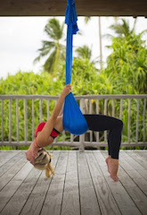 Aerial yoga at Six Senses Laamu