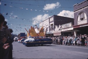 STREET parade to celebrate 1961's first-ever Bowral Tulip Time. (Destination Southern Highlands)