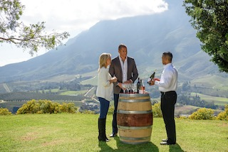 Louise and Blake enjoy South Africa's world-class wines at Delaire Graff Estate, Stellenbosch - low res