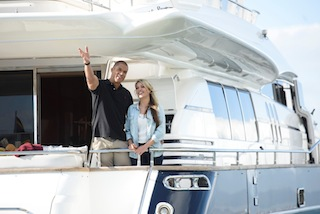 Sam and Blake enjoy a day on the ocean taking in the stunning views of Cape Town from luxurious Super Yacht, Princess Emma