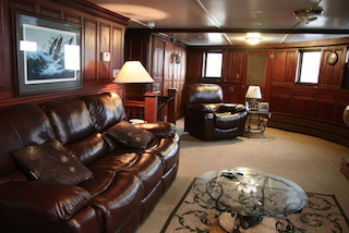 THE luxurious leather and walnut lounge. (Jerry Kasper)