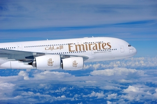 The Emirates A380. The airline will commence services to Milan with the A380 on 1 December.