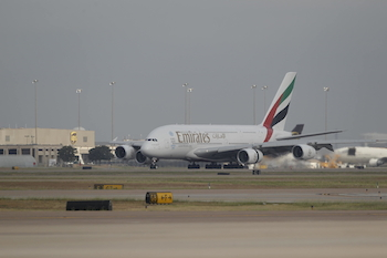 Emirates Airlines A380, Wednesday, October 1, 2014 at Dallas-Fort Worth International Airport in Texas. (Brandon Wade/AP Images for Emirates Airline)
