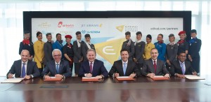 (Left to right): Maurizio Merlo, CEO Darwin Airline; Wolfgang Prock-Schauer, CEO airberlin; James Hogan, President and CEO Etihad Airways; Cramer Ball, CEO Jet Airways; Dane Kondić, CEO Air Serbia, Manoj Papa, CEO Air Seychelles; celebrate the launch of Etihad Airways Partners.