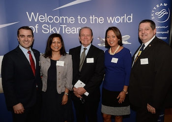 L-R SkyTeam Manager Commercial Development Edward Hollo, Mexican Airlines' Mary Thapa, China Southern's Bill Bryant, Air France KLM's Ditas Oesch and Jean-Marc Lestavel