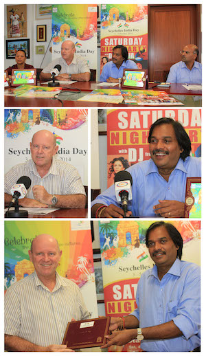 Mr Ramu Pillay presented Minister St Ange with invitations for Seychelles India Day