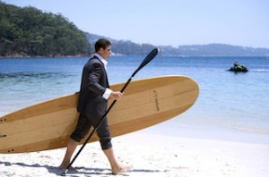 Port Stephens - Businessman in surf