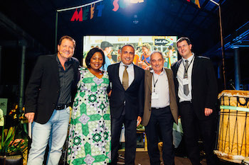 SAT Road Show Sydney - Scott McRae, Lalie Ngozi, South African Tourism with winners Renzo Favaloro, Zaia Bazi & Julian Hall, SAA
