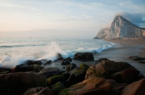 Spanish beach overlooking the rock of Gibraltar