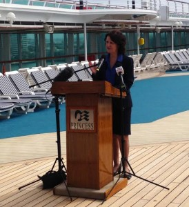 Tourism Minister Louise Asher on Dawn Princess