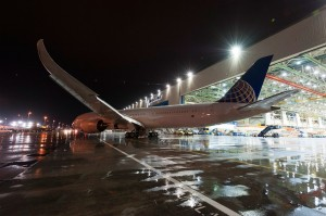 United's first 787-9 Dreamliner rolled out of final assembly at Boeing's Everett, Washington, facility on April 9, 2014.