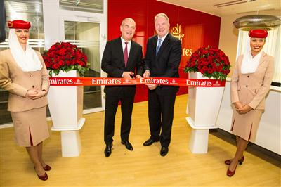 Thierry Antinori, Emirates' Executive Vice President and Chief Commercial Officer and Laszlo Szabo - Deputy Minister and Parliamentary State Secretary - Ministry of Foreign Affairs officially open Emirates' new Customer Contact Centre in Budapest.