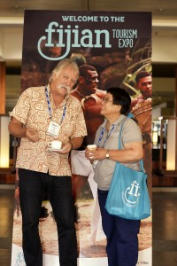 Mr Jack Young of Koro Sun with Ms Candy Andrus, Fiji Airways at FTE 2014...