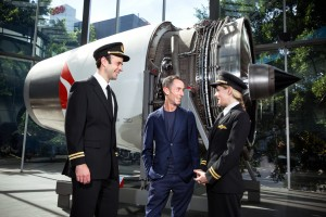 Martin Grant speaks to Qantas B747 Second Officers Will Tidmarsh and Fiona Church