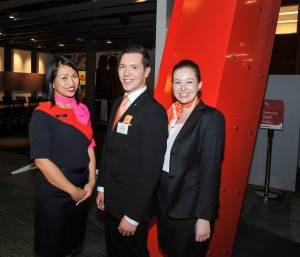 Pullman Welcomers  Jason Neophytou  & Paige Heesh with Qantas flight attendant