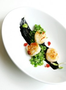 Seared Scallop with Squid Ink Sauce