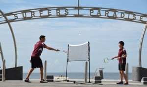Badminton comes to the beach - Wesley Caulkett & Wendy Chen at Surfers Paradise