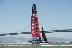 Emirates Team New Zealand sail back to the base after  racing was canceled when the upper wind limit was exceeded.  America's Cup 34. 17/9/2013