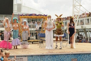 King Neptune and his Queen (Pacific Jewel's Ben Hinks & Charlotte Maclachlan) join Cruise Director Kangaroo Jay (Zoltina J Medwik Daley) and mermaids on deck