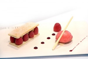 Raspberry and vanilla sable, crame patisserie and  raspberry sorbet
