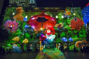 Street artist Monet outside Customs House for a preview of Vivid Sydney