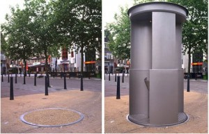 A UriLift urinal in quieter times, shown in repose (left) and when deployed (right)