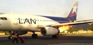 Engine fire on LAN A319