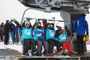 First on the chair' boarders were (L-R) Ryusei Wakushima (15), Caleb Harding (15), Finn Duffy (16) and Oliver Hill (15)_media