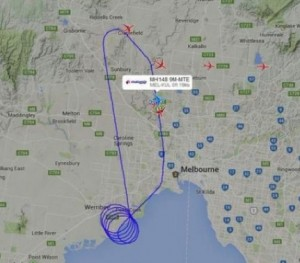Flight map photo shows convoluted path of MH148 over Port Phillip Bay