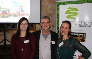 From left Solene Senlis and Peter Power from Aviareps representing Ecuador's Ministry of Tourism wuith Claire Antell from Hemisphere Marketing for Tren Ecuador at the function (1)