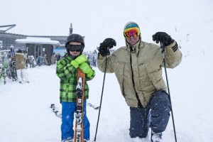 Happy skiers father Matthew Manton and son Jack (7) enjoy the fresh snow at Coronet Peak_media