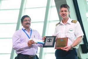 Plaque exchange between Dr Unnikrishnan Nair, Traffic Manager, Kochi Port Trust (left) with Captain Srecko Ban of Quantum of the Seas, 5 Jun 15