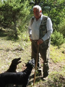 Sibillini mountains, truffle hunter with dogs sml