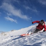 Skier Jake McCleary carves through light-as-air powder