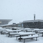 Snow covered picnic tables at Coronet Peak_media