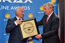 """Best Airline in Europe"" award presented to Turkish Airlines' Deputy Chairman and CEO, Temel Kotil Ph.D. by the CEO of Skytrax, Edward Plaisted."