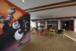 Royal Caribbean International and DreamWorks Animation commemorated the grand opening of the Kung Fu Panda Noodle Shop, a new family style eatery on board Quantum of the Seas and the first-ever DreamWorks Animation Kung Fu Panda themed restaurant on land or at sea. (PRNewsFoto/Royal Caribbean)