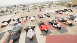 LOS ANGELES, CA - JUNE 13:  Atmosphere at Yoga in the Sky: Celebrity Yogi Rainbeau Mars Leads Sunrise Yoga On Helipad At Four Seasons Hotel Los Angeles At Beverly Hills For Global Wellness Day at Four Seasons Hotel Los Angeles at Beverly Hills on June 13, 2015 in Los Angeles, California.  (Photo by Michael Bezjian/Getty Images for Four Seasons Hotel Los Angeles at Beverly Hills)