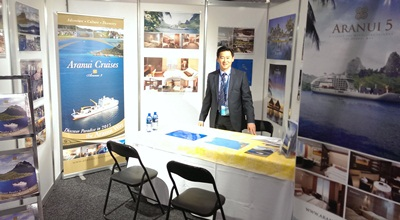 Laurent Wong at the Aranui stand at the South Pacific Tourism Exchange i...