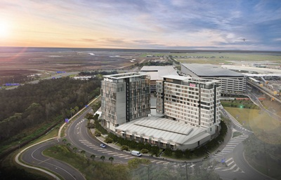 $150M Brisbane Airport Hotels and Conference Centre Aerial