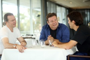 HOBART, AUSTRALIA - NOVEMBER 13:  (L-R) Neil Perry AM, Peter Gilmore and Ben Shewry have a discussion as they prepare for tomorow night's Invite The World To Dinner Gala event at MONA in Hobart, Australia. Invite The World To Dinner is part of Tourism Australia's global tourism campaign Restaurant Australia. 86 international food and wine influencers were selected to enjoy some of the best Australian food and wine experiences, culminating in the Invite The World To Dinner Gala event at MONA in Hobart. The campaign aims to increase awareness of Australia's food and wine offering to increase international tourism.  (Photo by Graham Denholm/Getty Images) *** Local Caption *** Neil Perry;Ben Shewry;Peter Gilmore