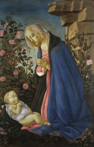 Sandro Botticelli The Virgin adoring the sleeping Christ child c1490 tempura and gold on canvas 122 x 80 cm © Trustees of the National Galleries of Scotland ***This image may only be used in conjunction with editorial coverage of The Greats exhibition, 24 Oct 2015 -  8 Feb 2016, at the Art Gallery of New South Wales. This image may not be cropped or overwritten. Prior approval in writing required for use as a cover. Caption details must accompany reproduction of the image. *** Media contact: Lisa.Catt@ag.nsw.gov.au    *** Local Caption *** ***This image may only be used in conjunction with editorial coverage of The Greats exhibition, 24 Oct 2015 -  8 Feb 2016, at the Art Gallery of New South Wales. This image may not be cropped or overwritten. Prior approval in writing required for use as a cover. Caption details must accompany reproduction of the image. *** Media contact: Lisa.Catt@ag.nsw.gov.au