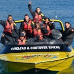 Joseph Parker and friends go for a spin with KJet driver Jack Rowe