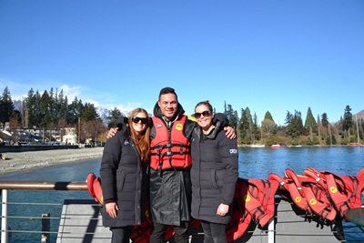 KJet jetty staff (L) Maddie Kelly and (R) Sheridan Evans welcome Joseph Parker aboard