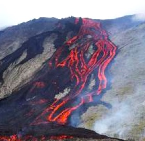 Lava flows from Le Piton de la Fournaise volcano on Reunion Island yesterday