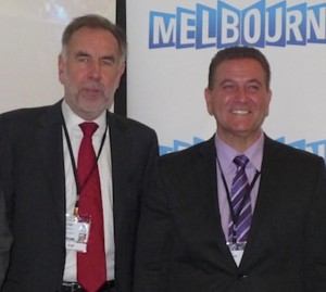 Leigh Harry of Tourism Victoria and Victoria's Minister For Tourism And Major Events, John Eren, pictured at ATE15 in Melbourne in June